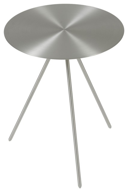 Faith Side Table, Brushed Nickel Midcentury Side Tables And End