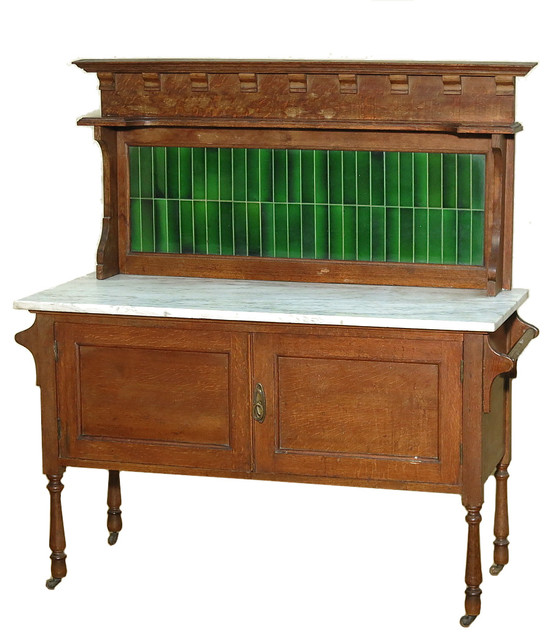 Consigned c1899 Antique English Solid Oak Marbletop Vanity Washstand With Tiles