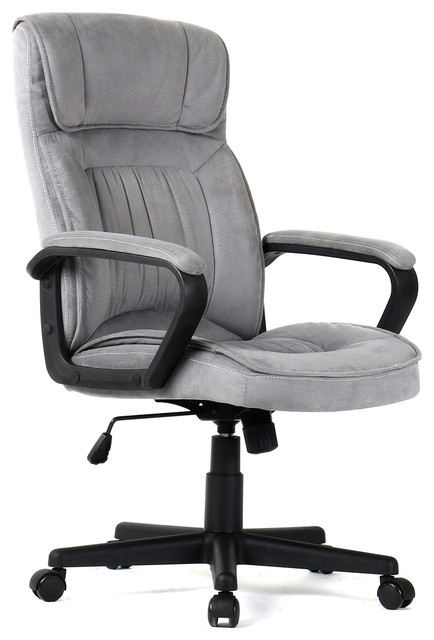 Executive Padded Microfiber Office Chair With Lumbar Support Gray