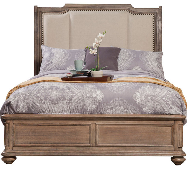 Bedroom Furniture Melbourne melbourne sleigh bed with upholstered headboard - traditional