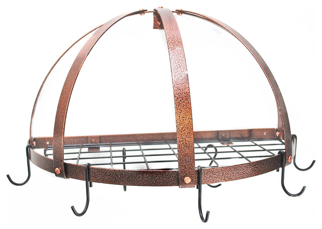 Half Dome Pot Rack With Grid, Hammered Copper And Black.