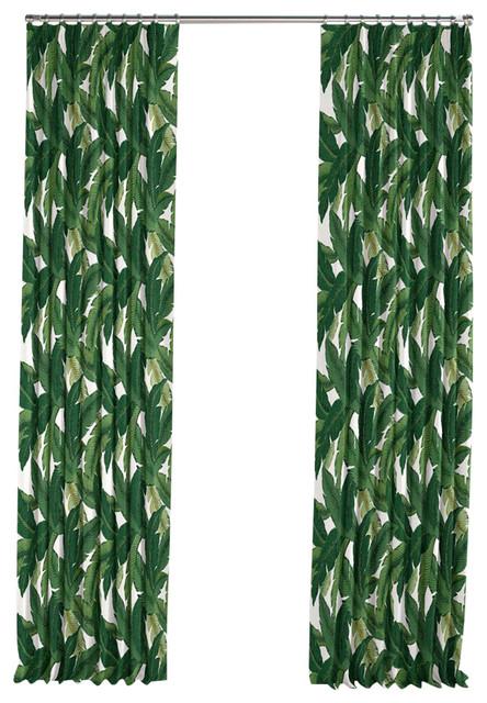 Green Banana Leaf Pleated Curtain Single Panel Tropical