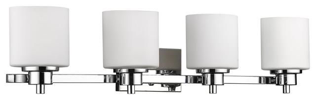 "Solbi 4-Light Chrome Finish Bath Vanity Wall Fixture White Alabaster Glass 33"""