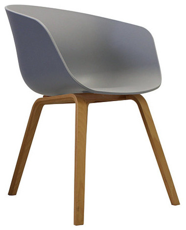 Danish Style Dining Arm Chair, Natural Legs, Dove Grey