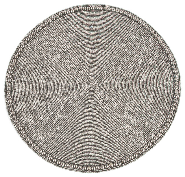 Elegant Hand Beaded Design Round Placemat 1 Piece Contemporary Placemats By Styles I Love Inc