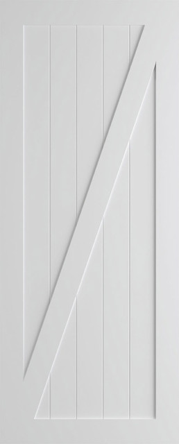 """Z-Brace Modern Barn Door, Primed, 36""""x84""""x1.375"""", Primed, 42"""" X 84"""" X 1.375"""", Bl."""