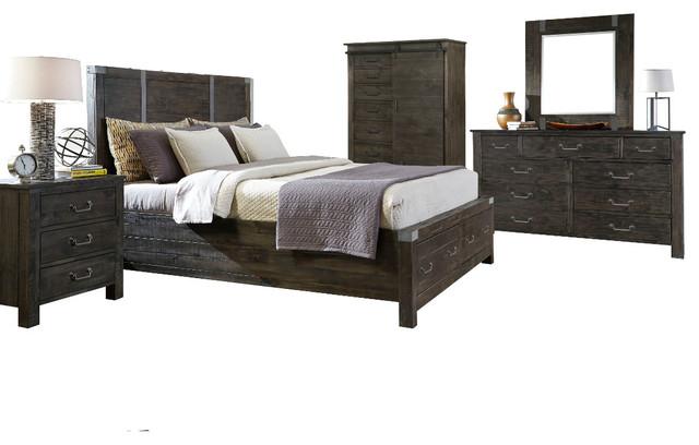 Magnussen Abington 5 Piece Panel Storage Bedroom Set In Weathered