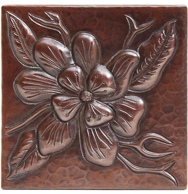 "Wildflower Design Hammered Copper Tile, 4""x 4""."