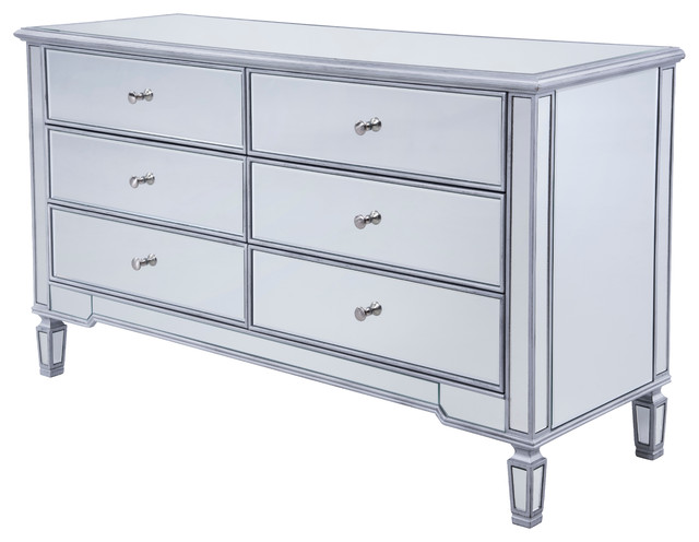 """6-Drawer Silver Paint Cabinet, 60""""."""