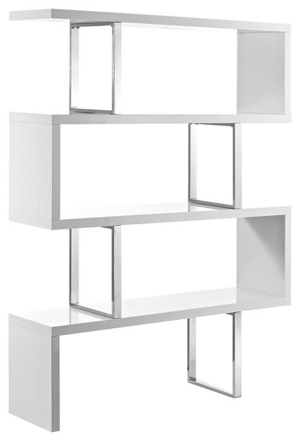Modern Contemporary Urban Bookcase Bookshelf Shelf Rack Stand, White, Wood Metal