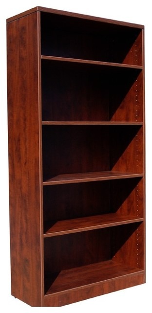 Boss Bookcase, 31W X 14D X 65.5H Mahogany by Boss Office Products