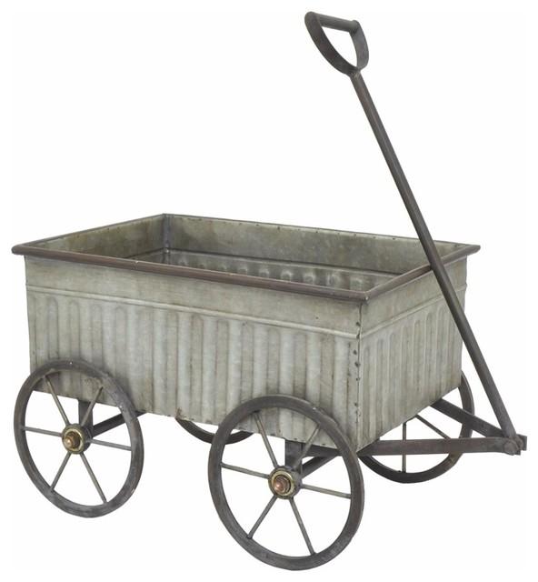 Galvanized Metal Wagon Farmhouse Wheelbarrows And Garden Carts