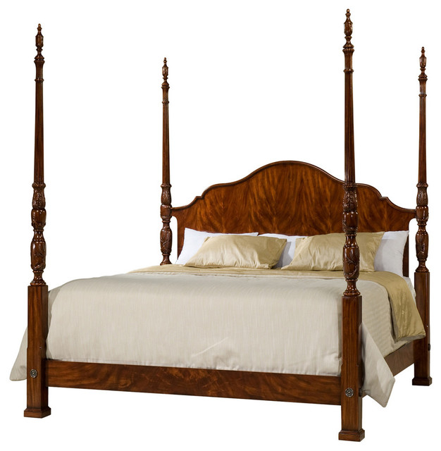Finely Carved Mahogany Four Post Bed