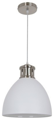 Ohr Lighting Modern Aptakus Pendant, Sand White And Satin Nickel.