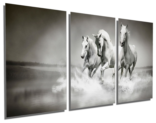 Triptych Wall Art running white horses, metal print wall art, 3 panel split