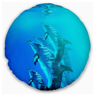 Insert Printed On Both Side Designart Cu7473 16 16 C Dolphin In Blue Sea Seascape Round Cushion Cover For Living Room Sofa Throw Pillow 16 Home Kitchen Bedding