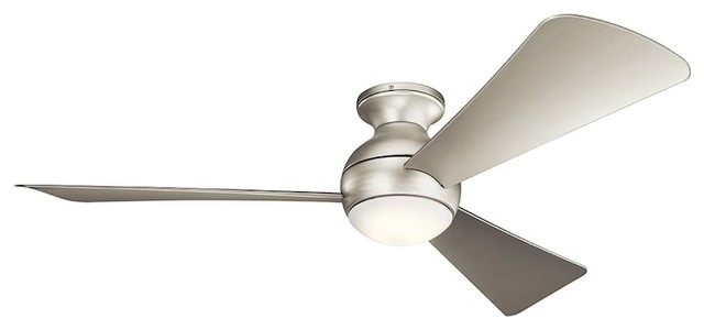 "Kichler Sola 54"" Sola Fan Led, Brushed Nickel, Etched Opal, Silver."
