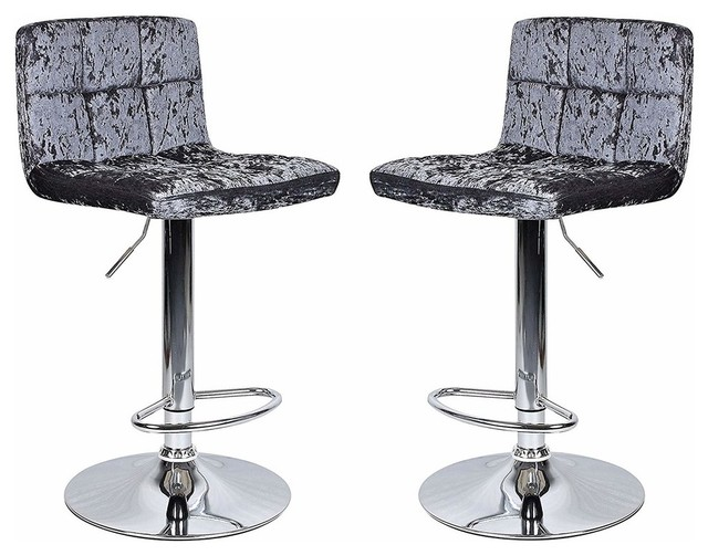 Set of 2 Bar Stools, Steel Metal Base and Crushed Velvet Grey Upholstery