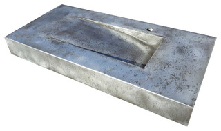 Handmade zinc vanity counter top industrial bathroom for Kitchen cabinets 07601