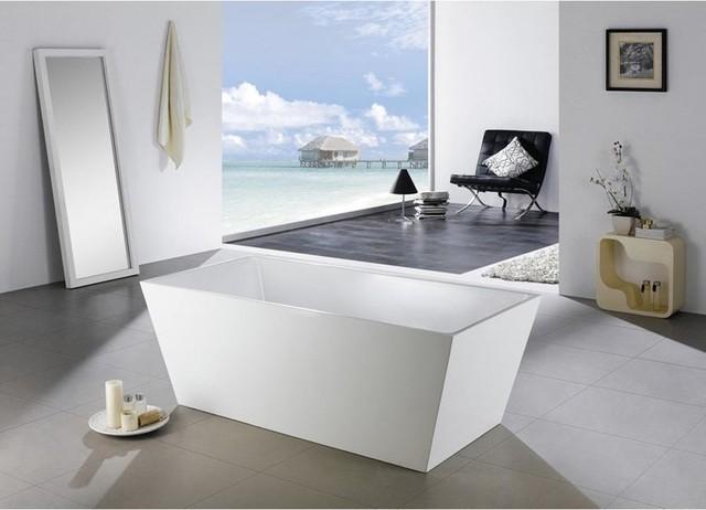 "Kube Squadra 59"" Free Standing Acrylic Bathtub, Gloss White."