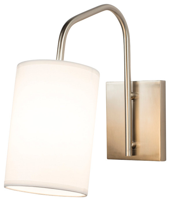 Coopster 1 Light Sconce In Brushed Nickel Finish With White Linen Shade