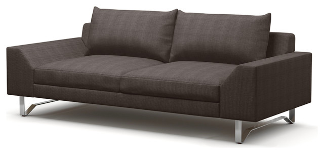 "Series 7 Condo Sofa, Charcoal, Brushed Nickel, 86""."