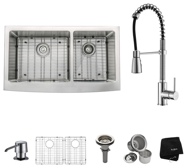"""Farmhouse Double Stainless Steel Sink, Faucet and Soap Dispenser, Chrome, 33"""""""