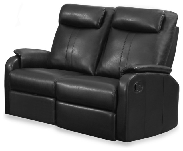 reclining love seat black bonded leather