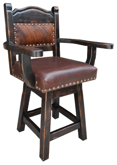 Hacienda Western Swivel Bar Stool Cowhide And Leather Counter Height