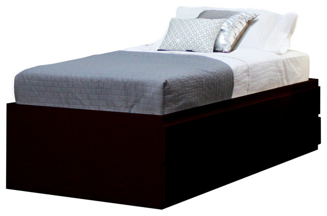 Twin Storage Bed With 6 Drawers, Espresso.