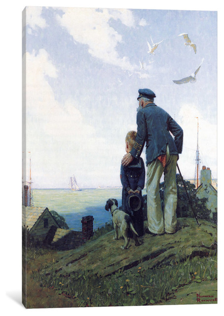 """""""the Stay At Homes Gallery"""" By Norman Rockwell, 40x26x1.5""""."""