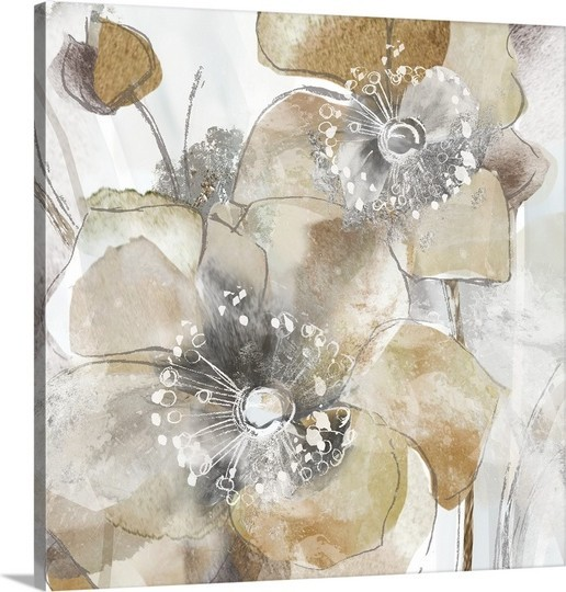 "Houzz Spring Landscaping Trends Study: ""Taupe Spring Poppy II"" Premium Thick-Wrap Canvas Wall Art"