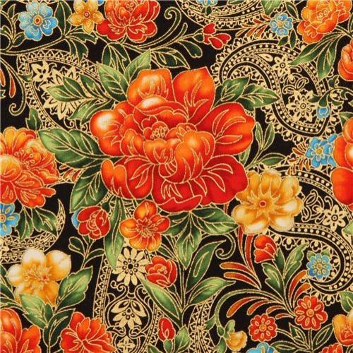 black flower fabric with gold Robert Kaufman orange
