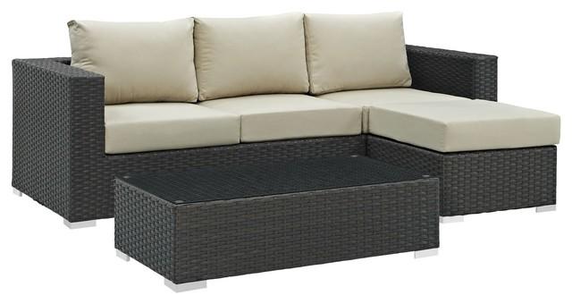Marvelous Modern Contemporary Urban Living Lounge Room Sectional Sofa Set Beige Rattan Inzonedesignstudio Interior Chair Design Inzonedesignstudiocom