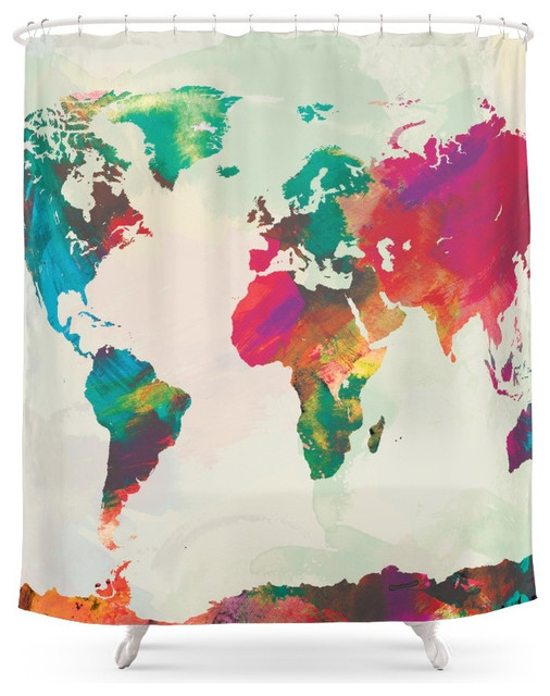 society6 watercolor world map shower curtain - contemporary