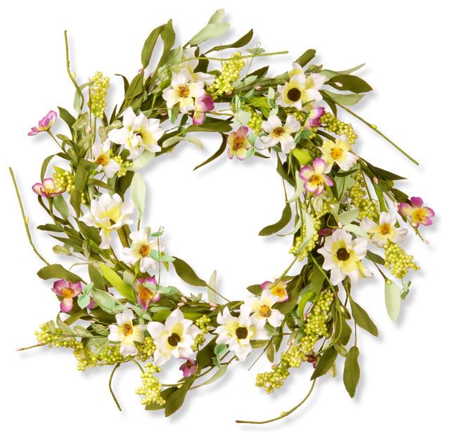 "20"" Floral Wreath Decor, Mixed Flowers White/Purple"