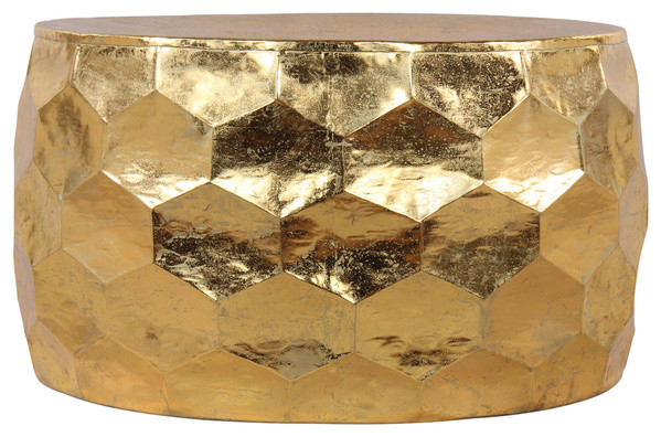 Merveilleux Gemoratic Hammered Gold Leaf Metal Coffee Table   Contemporary   Coffee  Tables   By Horizon Interseas, Inc