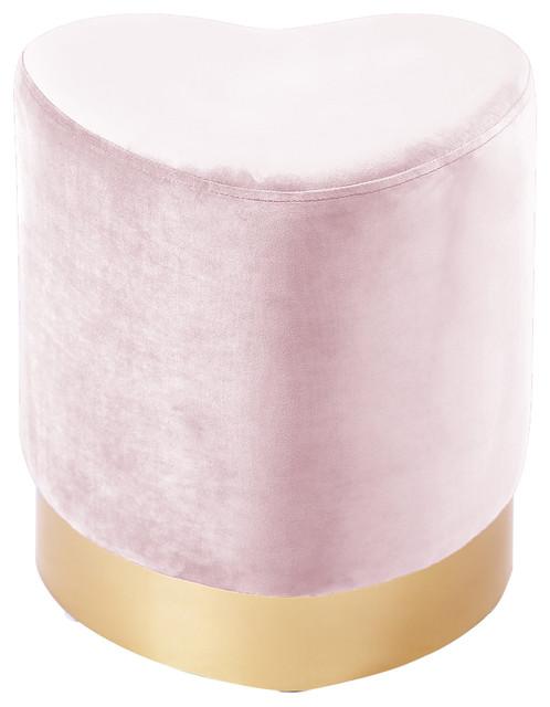 Heart Pink Velvet Ottoman/Stool, Pink