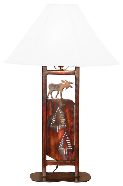 Moose table lamp rustic table lamps by mcmillans handcrafted moose table lamp aloadofball Choice Image