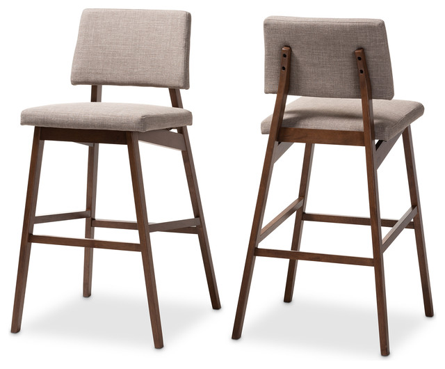 Awe Inspiring Colton Mid Century Light Gray Fabric Upholster Walnut Finish Bar Stool Set Of 2 Caraccident5 Cool Chair Designs And Ideas Caraccident5Info