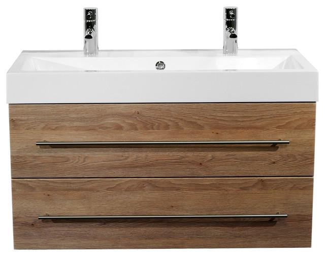 Emotion Sunrise Wall-Mounted Bathroom Vanity Unit, 100 cm, Light Oak Semi-Gloss
