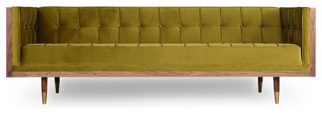 Woodrow Midcentury Modern Box Sofa, Velvet, Seat: Olive, Base: Walnut.