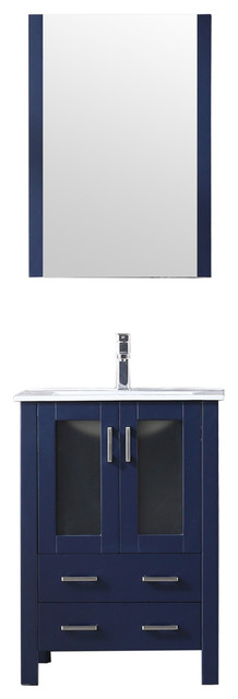 "Volez 24"" Single Vanity Navy Blue, Integrated Top,Integrated Square Sink&22""Mir"