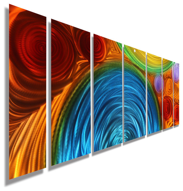 Blue Metal Wall Art large blue, orange and red abstract metal wall sculpturejon