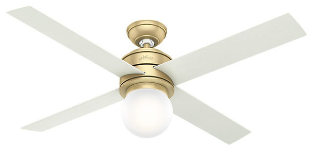 Hunter 52 Hepburn Modern Brass Ceiling Fan With Light And Wall Control.