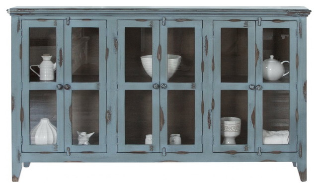 Bayshore Distressed Blue Finish Solid Wood 6 Door Sideboard China Cabinet