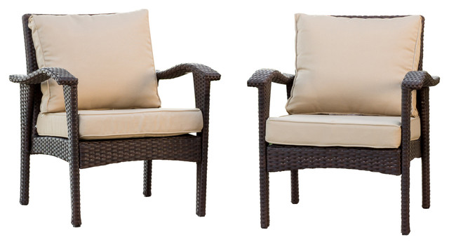 Bleecker Outdoor Brown Wicker Club Chairs With Cushions, Set Of 2.