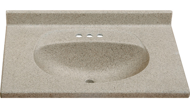 "Cappuccino Matte Finish Imperial Olympic Oval Bowl Bathroom Vanity Top, 31"" Wide."