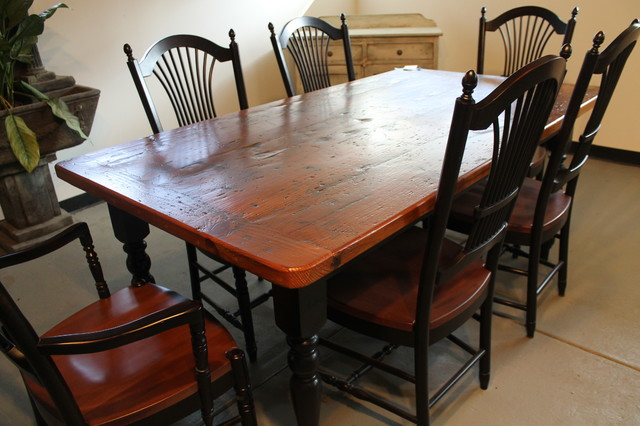 Rustic 7 Foot Harvest Table With Black Windsor Chairs