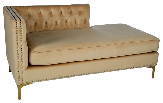Harper Tufted Chaise Beige Contemporary Indoor Chaise